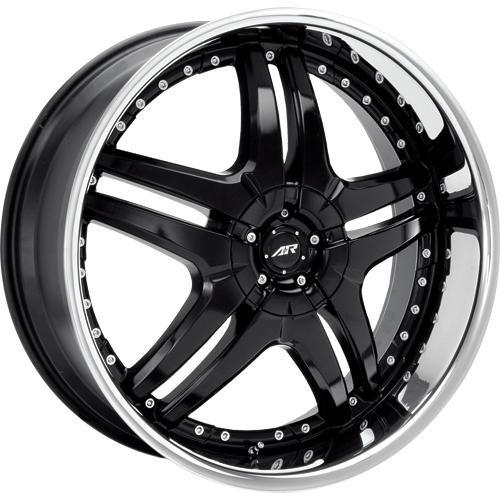 American Racing Wheels Black Burn With Stainless Steel Lip